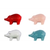 Ceramic Standing Pig Figurine with Engraved Floral Design Assortment of Four Assorted Colors SM Gloss Finish (White, Pink, Red and Turquoise)