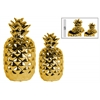 Ceramic Pineapple Canister Set of Two Polished Chrome Finish Gold