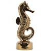 Ceramic Seahorse Figurine on Round Base Polished Chrome Finish Gold
