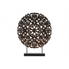 Wood Round Buddhist Wheel Ornament on Rectangular Stand LG Rubbed Finish Bronze