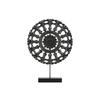 Wood Round Buddhist Wheel Ornament on Rectangular Stand SM Matte Finish Black