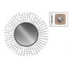 Metal Round Wall Mirror with Sunburst and Wave Design Frame Metallic Finish Black