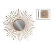 Metal Round Wall Mirror with Sunburst and Circles Design Frame Metallic Finish Gold