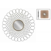 Metal Round Wall Mirror with Gold Center and Interlocking Loops Design Frame Metallic Finish Black