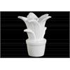 Ceramic Flower Figurine on Pot Gloss Finish White