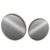 Metal Round Wall Mirror LG Set of Two Coated Finish Gray
