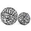 Metal Nesting Mesh Ball Decor Set of Two Coated Finish Black
