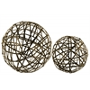 Metal Nesting Mesh Ball Decor Set of Two Coated Finish Champagne