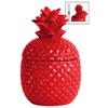 Ceramic 20 oz. Pineapple Canister SM Gloss Finish Red