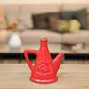 Ceramic Olive Oil Pourer with Embossed Olives,Label, Cork Lid, and Handle Distressed Gloss Finish Red