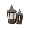 Wood Lantern with C Iron Top, Metal Handle and Glass Sides Set of Two Stained Wood Finish Brown