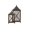 Wood Rectangular Lantern with C Iron Top, Metal Ring Handle and Glass Sides Set of Two Stained Wood Finish Sienna Brown