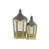 Wood Hexagonal Lantern with C Iron Top, Metal Ring Handle, Glass Sides and Tapered Bottom Set of Two Distressed Wood Finish Dark Khaki Brown