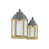 Wood Hexagonal Lantern with C Iron Top, Metal Ring Handle, and Glass Sides Set of Two Distressed Finish Dark Khaki Brown