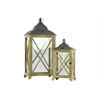 Wood Rectangular Lantern with C Iron Top, Metal Ring Handle, and Glass Sides Set of Two Coated Finish Dark Khaki Brown