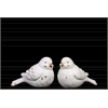 Ceramic Bird Figurine Set of Two Distressed Matte Finish White