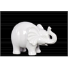 Ceramic Standing and Trumpeting Elephant Figurine SM Gloss Finish White