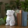 Ceramic Sitting British Bulldog Figurine Gloss Finish White