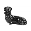 Ceramic Laying Basset Hound Dog Figurine Gloss Finish Black
