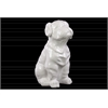 Ceramic Sitting Bulldog Figurine Gloss Finish White