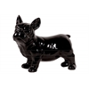 Ceramic Standing French Bulldog Figurine with Pricked Ears Gloss Finish Black