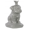 Ceramic Sitting British Bulldog Figurine with 5 Spiked Crown on Cushion Base Gloss Finish Gray