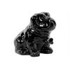 Ceramic Sitting Bulldog Puppy Figurine with Bone Pendant on Collar Gloss Finish Black