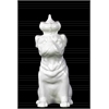Ceramic Sitting Bulldog Figurine with Crown Gloss Finish White