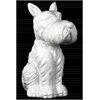 Ceramic Sitting Welsh Terrier Dog Figurine with Pricked Ears Gloss Finish White