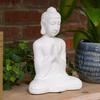 Ceramic Meditating Buddha Figurine with Rounded Ushnisha in Anjali Mudra Gloss Finish White