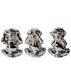 Ceramic Sitting Monkey No Evil (Speak/Hear/See) Figurine Assortment of Three Polished Chrome Finish Silver