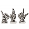 Ceramic Hand Sign (Thumb Up/Fingers Crossed/Loser) Sculpture with Base Assortment of Three Polished Chrome Finish Silver