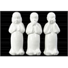 Ceramic Standing Monk No Evil (Speak/Hear/See) Figurine Assortment of Three Gloss Finish White