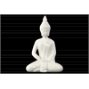 Ceramic Meditating Buddha with Pointed Ushnisha in Dhyana Mudra Figurine Gloss Finish White
