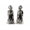 Ceramic Standing Monk Figurine with Base Assortment of Two Polished Chrome Finish Silver