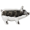 Ceramic Standing Pig Figurine LG Polished Chrome Finish Silver