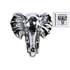 Ceramic Elephant Head Wall Decor Polished Chrome Finish Silver