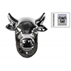 Ceramic Cow Head Wall Decor Polished Chrome Finish Silver