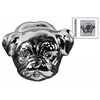 Ceramic Pug Dog Head Polished Chrome Finish Silver