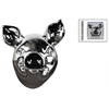 Ceramic Pig Head Wall Decor Polished Chrome Finish Silver
