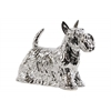 Ceramic Standing Scottish Terrier Dog Figurine LG Polished Chrome Finish Silver