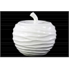 Ceramic Apple Figurine with Embossed Wave Surface LG Gloss Finish White