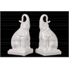 Ceramic Trumpeting Sitting Elephant Bookend on Base Set of Two Gloss Finish White