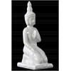 Ceramic Kneeling Buddha Figurine with Pointed Ushnisha in Abhaya Mudra Gloss Finish White