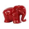 Ceramic Standing Elephant Figurine LG Gloss Finish Red