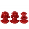 Ceramic Monkey No Evil (Speak/Hear/See) Figurine Assortment of Three Gloss Finish Red