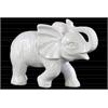 Ceramic Standing Trumpeting Elephant Figurine Gloss Finish White