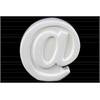 "Ceramic Alphabet Tabletop Decor Symbol ""@"" Gloss Finish White"