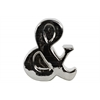 "Ceramic Alphabet Tabletop Decor Symbol ""&"" Polished Chrome Finish Silver"