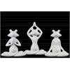 Ceramic Meditating Frog Figurine Assortment of Three Gloss Finish White